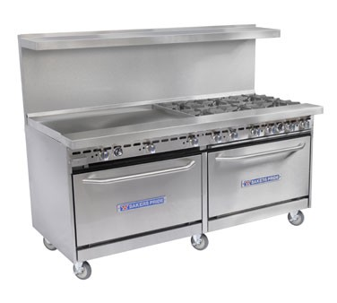 Bakers Pride 60-BP-6B-G24-S26 Restaurant Series 6 Burner Gas Range with Two Standard 26