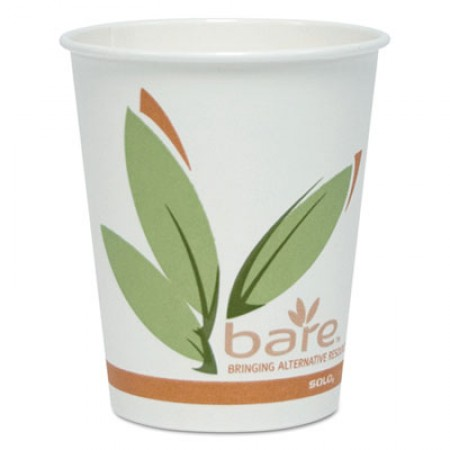Bare by Dart Eco-Forward Recycled Content PCF Paper Hot Cups, Paper, 10  oz., 300/Carton