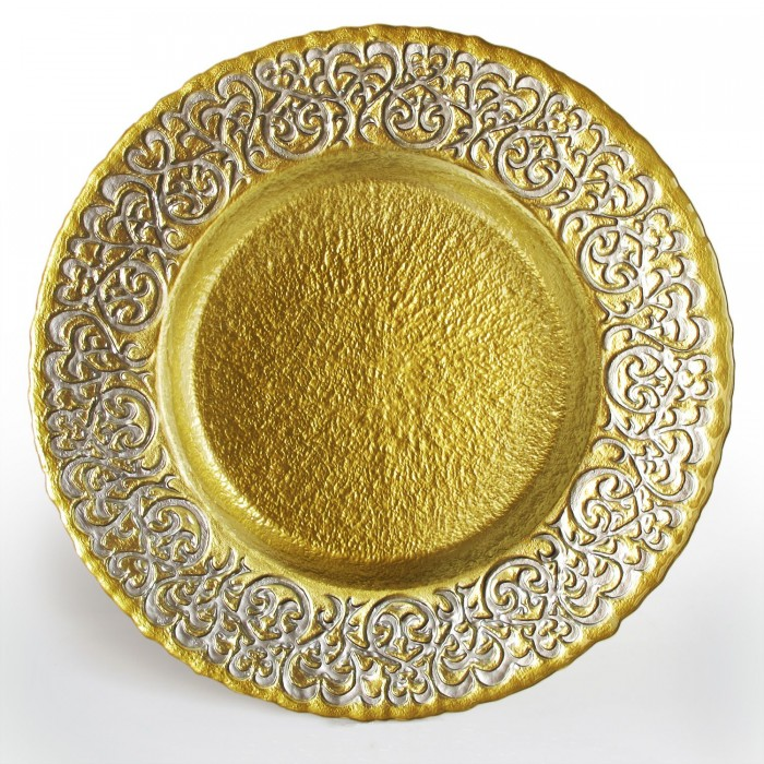"""The Jay Companies 1944007 Round Baroque Silver and Gold Glass Charger Plate 13"""""""