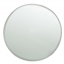 The Jay Companies 1331677 Round Silver Mirror Beaded Glass Charger Plate 13""