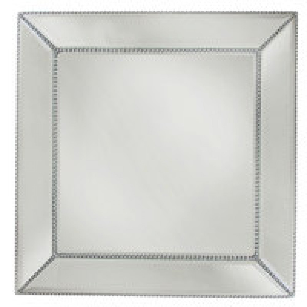 The Jay Companies 1331678 Square Beaded Glass Mirror Charger Plate 13""