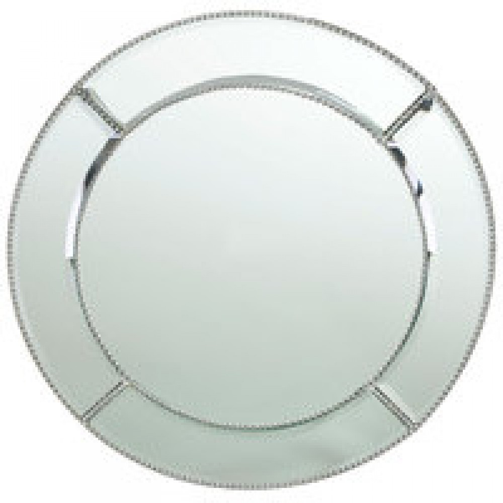 The Jay Companies 1331682 Round Glass Bead Mirror Charger Plate 13""