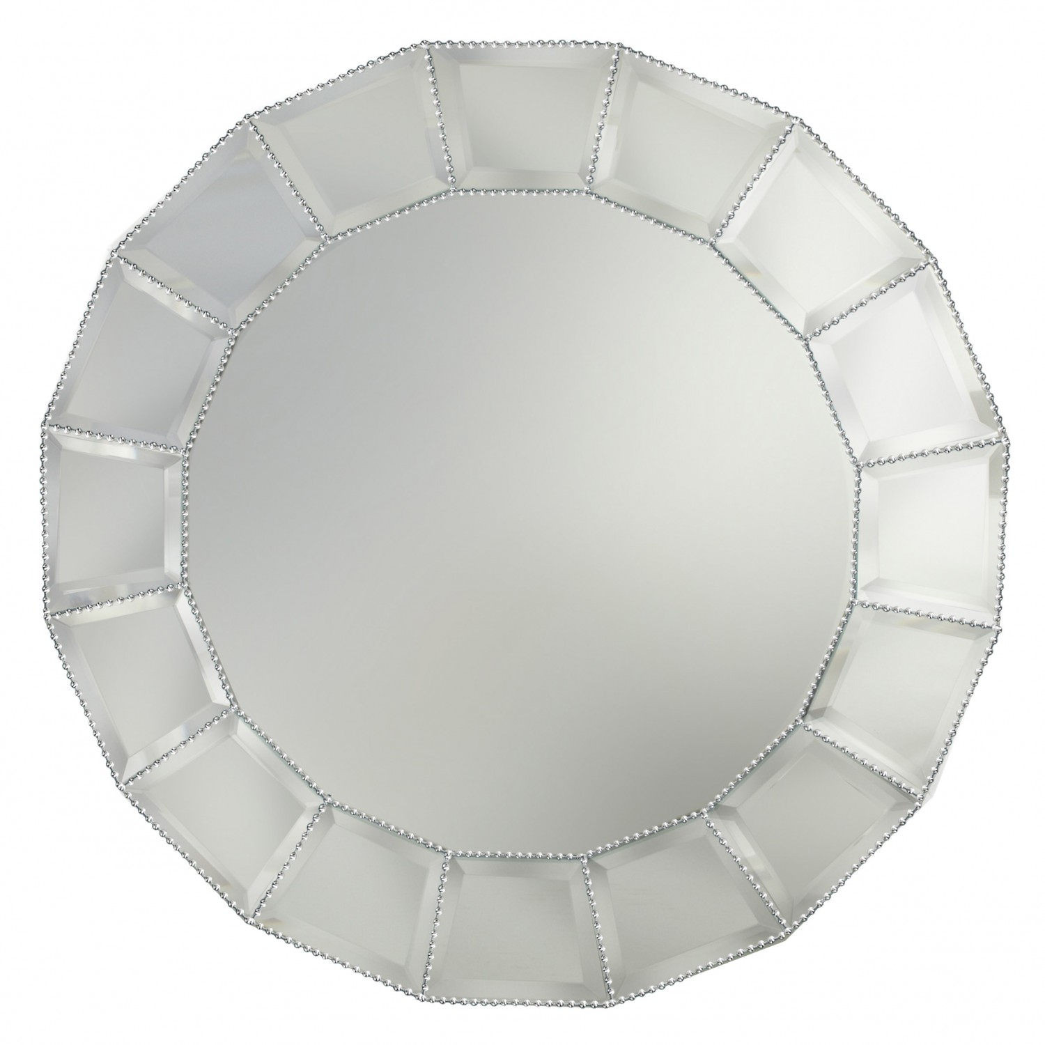 The Jay Companies 1331680 Round Beveled Block Beaded Glass Mirror Charger Plate 13""