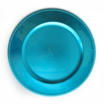 The Jay Companies 1270171 Round Aqua Beaded Charger Plate 13""