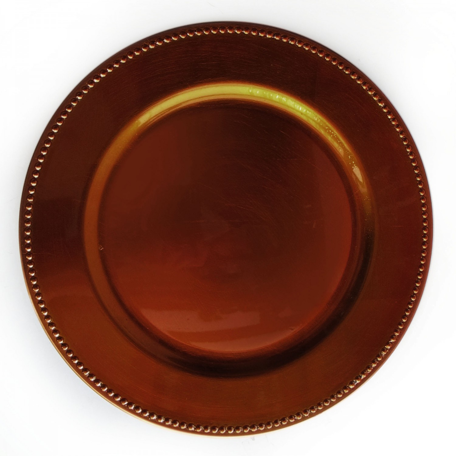 The Jay Companies 1270172 Round Copper Beaded Charger Plate 13""