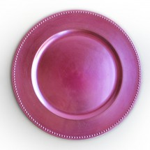 The Jay Companies 1270173 Round Pink Beaded Charger Plate 13""