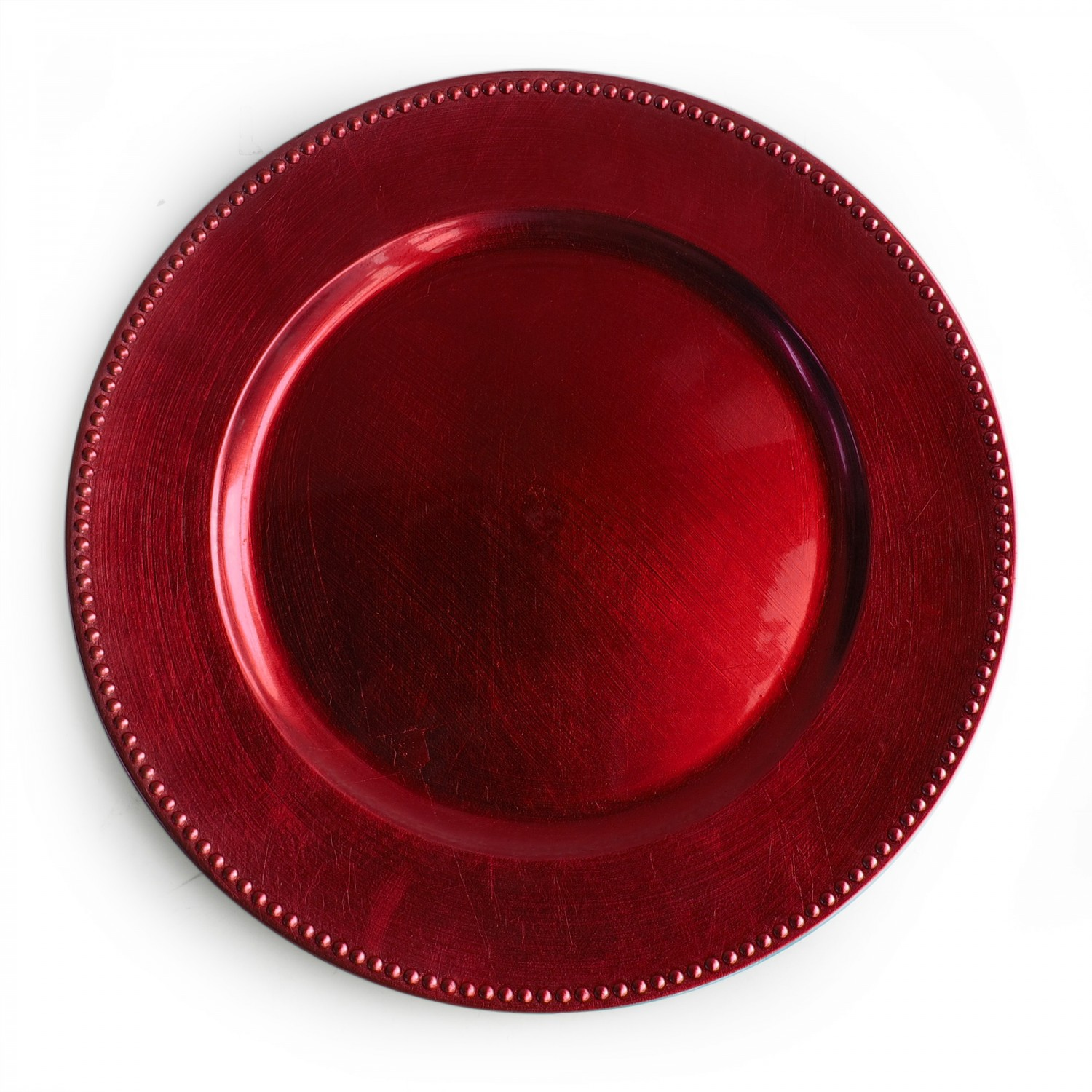 The Jay Companies 1270170 Round Red Beaded Charger Plate 13""