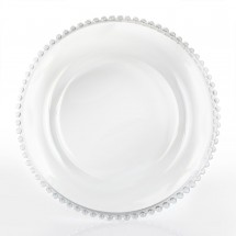 The Jay Companies 1900036 Round Clear Beaded Glass Charger Plate 13""