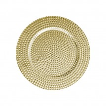 The Jay Companies 1270275-4 Round Gold Beaded Charger Plate 13""