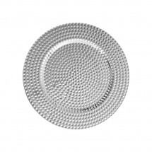 The Jay Companies 1270276-4 Round Silver Beaded Charger Plate 13""