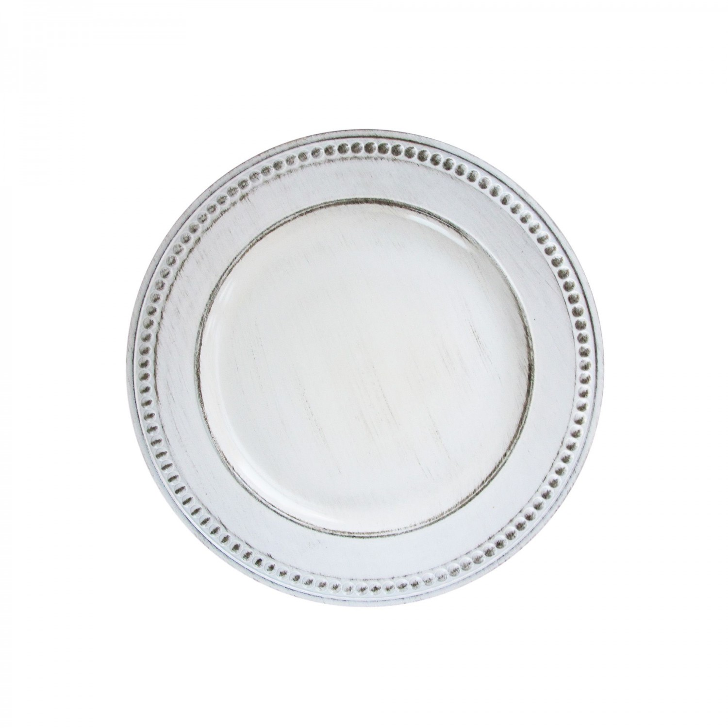 The Jay Companies 1270281 Round White Beaded Antique Charger Plate 14""