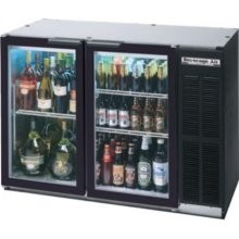 """Beverage Air BB58G-1-S Stainless Steel 2 Section Glass Door Back Bar Refrigerator 59"""""""
