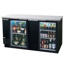 "Beverage Air BB68G-1-S 2-Section 37-1/4"" Stainless Steel Refrigerated Backbar Storage Cabinet with 2 Glass Doors"