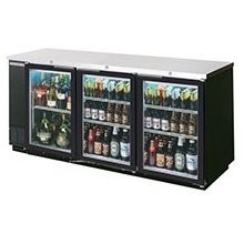 Beverage Air BB78G-1-B 3 Section Glass Door Back Bar Refrigerator 79""
