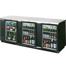 "Beverage Air BB94G-1-B 3-Section 37-1/4"" Stainless Steel Refrigerated Backbar Storage Cabinet with 3 Glass Doors"