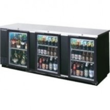 """Beverage Air BB94G-1-S Stainless Steel 3-Section Glass Door Back Bar Refrigerator 94"""""""