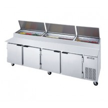 """Beverage Air DP119 4-Section Stainless Steel Pizza Top Refrigerated Counter with 19"""" Cutting Board"""