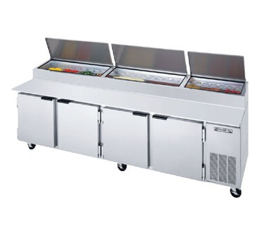 "Beverage Air DP119 4-Section Stainless Steel Pizza Top Refrigerated Counter with 19"" Cutting Board"