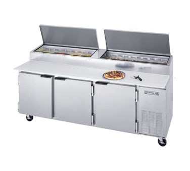 "Beverage Air DP93 3- Section Pizza Top Refrigerated Counter with 19"" cutting board"