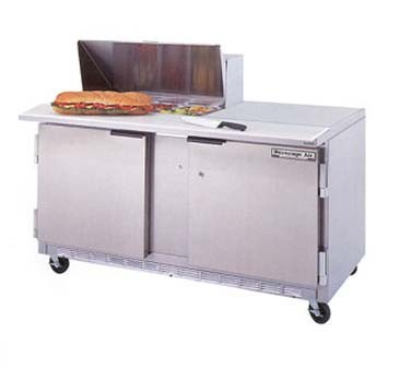 "Beverage Air SPE60-08 60"" Sandwich/Salad Preparation Table with 10"" Cutting Board"