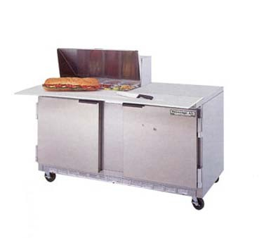 "Beverage Air SPE60-08C 2-Section Refrigerated 60"" Sandwich/Salad Preparation Table with 17"" Cutting Board"