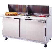 "Beverage Air SPE60-12C 2-Section Refrigerated 60"" Sandwich/Salad Preparation Table with 17"" Cutting Board"