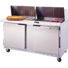 """Beverage Air SPE60-12M 2-Section Refrigerated 60"""" Sandwich/Salad Preparation Table with 10"""" Cutting Board"""