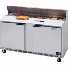 "Beverage Air SPE60-16C 2-Section Refrigerated 60"" Sandwich/Salad Preparation Table with 17"" Cutting Board"