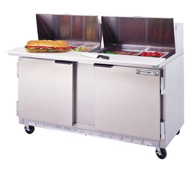 """Beverage Air SPE60-18M 2-Section Refrigerated 60"""" Sandwich/Salad Preparation Table with 10"""" Cutting Board"""