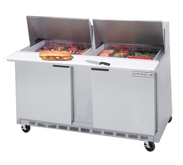 "Beverage Air SPE60-24M 2-Section Refrigerated 60"" Sandwich/Salad Preparation Table with 10"" Cutting Board"