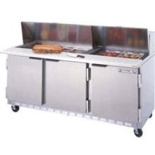 """Beverage Air SPE72-08 3-Section Refrigerated 72"""" Sandwich/Salad Preparation Table with 10"""" Cutting Board"""