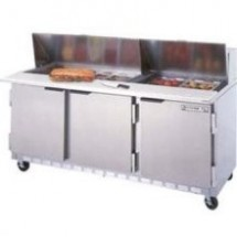 "Beverage Air SPE72-08 3-Section Refrigerated 72"" Sandwich/Salad Preparation Table with 10"" Cutting Board"