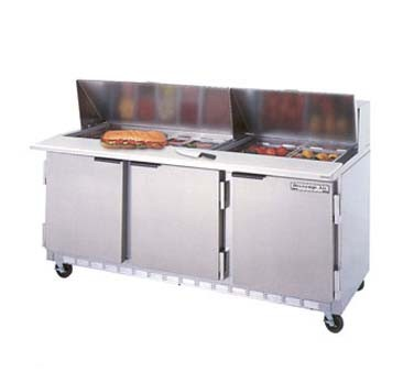 "Beverage Air SPE72-10 3-Section Refrigerated 72"" Sandwich/Salad Preparation Table with 10"" Cutting Board"