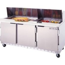 """Beverage Air SPE72-10C 3-Section Refrigerated 72"""" Sandwich/Salad Preparation Table with 17"""" Cutting Board`"""