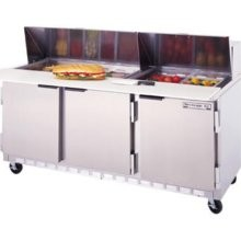 Beverage Air SPE72-10C 3-Section Refrigerated 72& Sandwich/Salad Preparation Table with 17& Cutting Board`