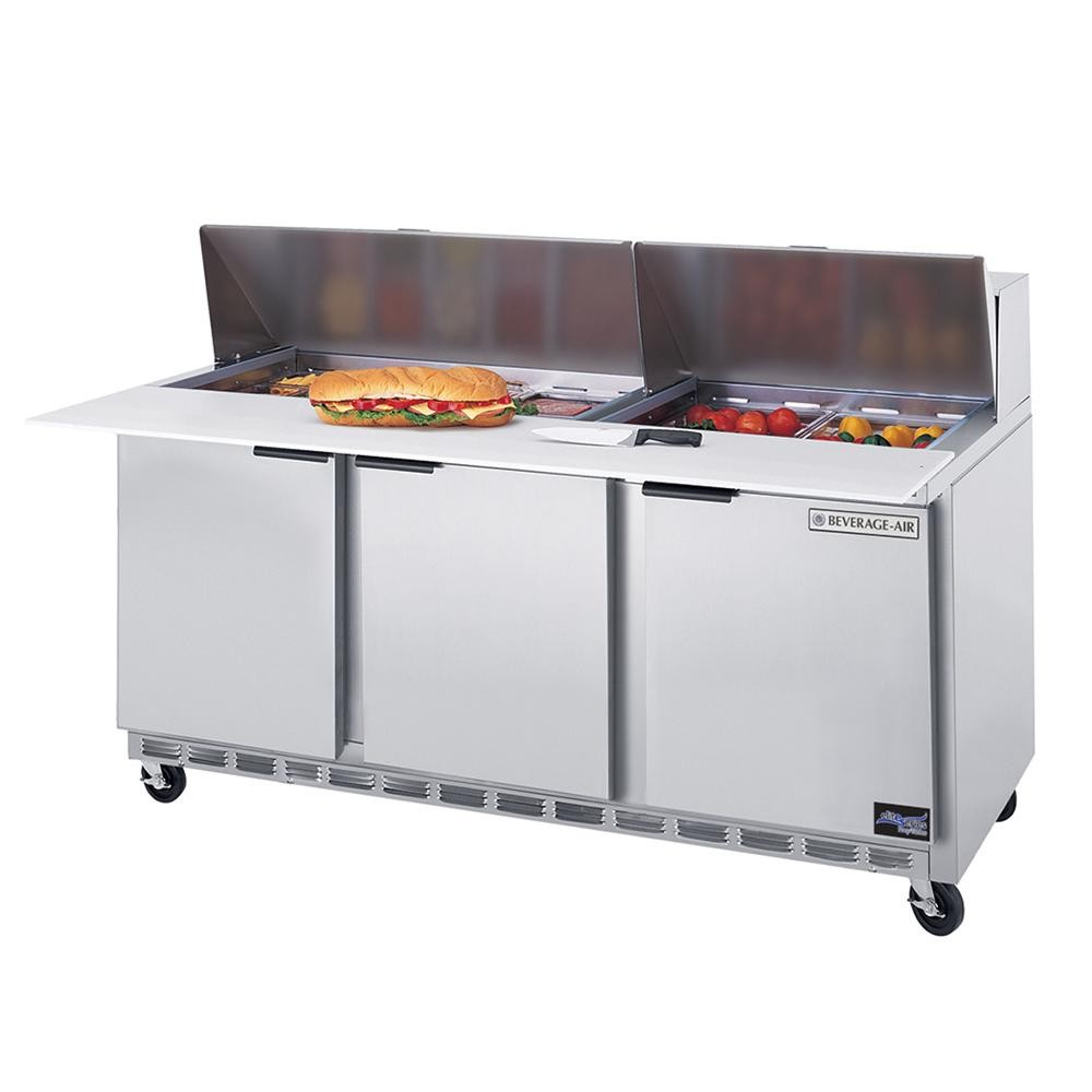 "Beverage Air SPE72-12 3-Section Refrigerated 72"" Sandwich/Salad Preparation Table with 10"" Cutting Board"
