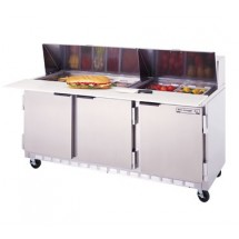 "Beverage Air SPE72-12C 3-Section Refrigerated 72"" Sandwich/Salad Preparation Table with 17"" Cutting Board"