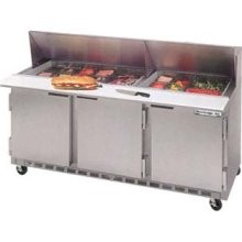 Beverage Air SPE72-12M 3-Section Refrigerated 72& Sandwich/Salad Preparation Table with 10& Cutting Board