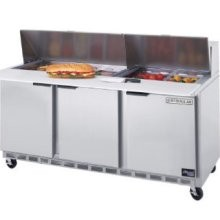 "Beverage Air SPE72-18 3-Section Refrigerated 72"" Sandwich/Salad Preparation Table with 10"" Cutting Board"