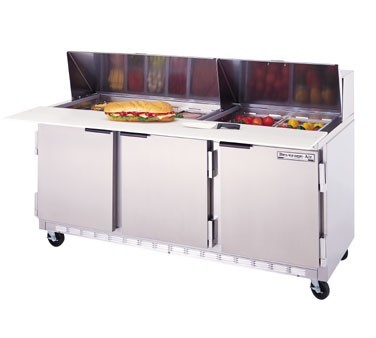 """Beverage Air SPE72-18C 3-Section Refrigerated 72"""" Sandwich/Salad Preparation Table with 17"""" Cutting Board"""