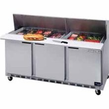 """Beverage Air SPE72-18M 72"""" 3-Section Refrigerated 72"""" Stainless Steel Sandwich/Salad Preparation Table with 10"""" Cutting Board"""