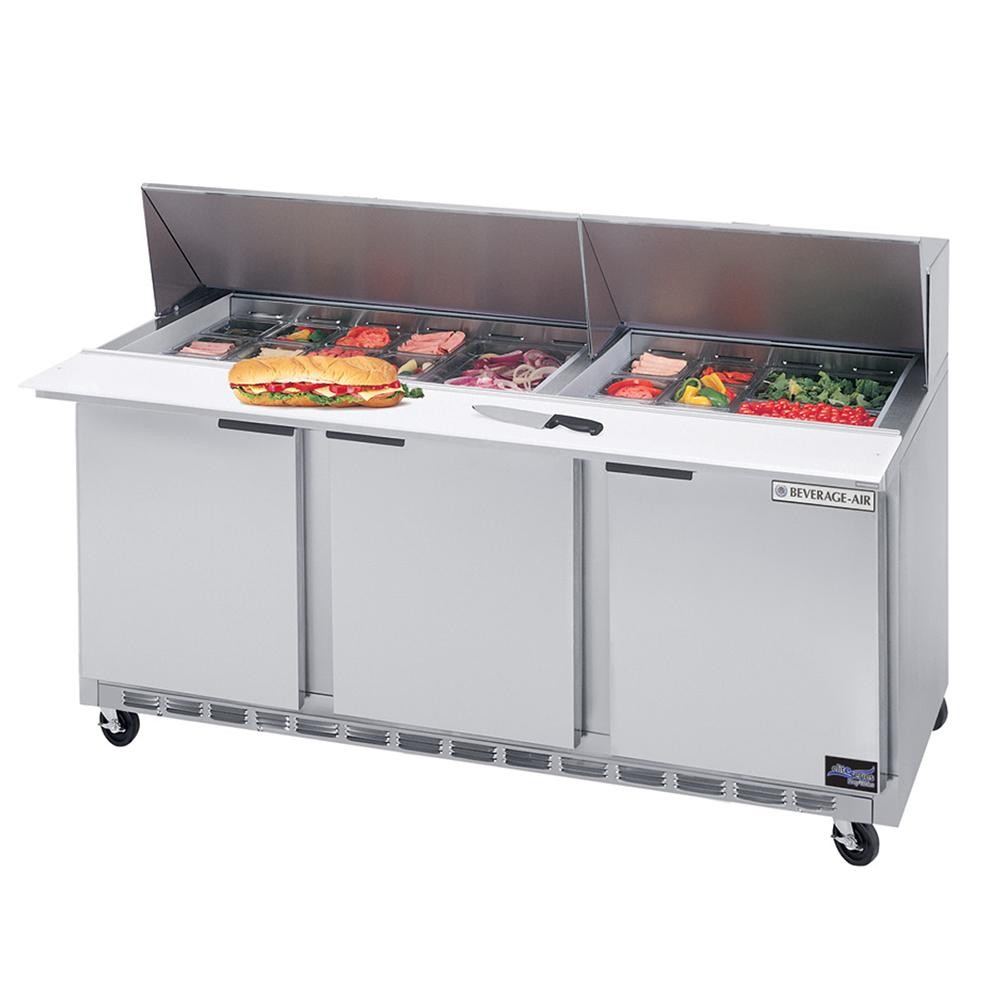"Beverage Air SPE72-24M 3-Section Refrigerated 72"" Sandwich/Salad Preparation Table with 10"" Cutting Board"