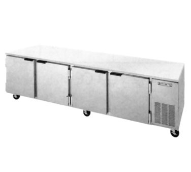 "Beverage Air UCR119A Four-Section Stainless Steel Side-Mounted 119"" x 32"" Undercounter Refrigerator"