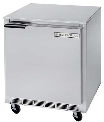 """Beverage Air UCR27A  Stainless Steel Rear-Mounted 27"""" x 29-1/4"""" Undercounter Refrigerator"""
