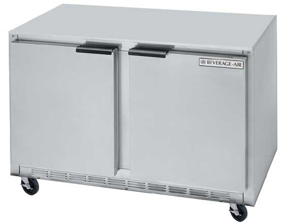 """Beverage Air UCR48A Stainless Steel Rear-Mounted 48"""" x 29-1/4"""" Undercounter Refrigerator"""