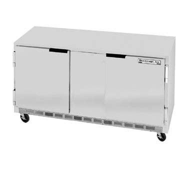 "Beverage Air UCR60A Stainless Steel Rear-Mounted 60"" x 29-1/4"" Undercounter Refrigerator"