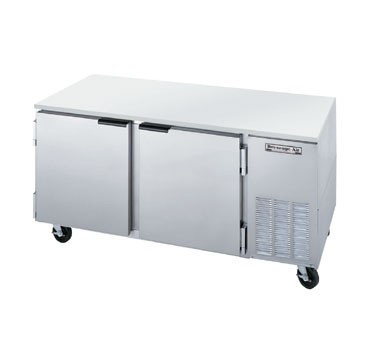 "Beverage Air UCR67A Two-Section Stainless Steel Side-Mounted 67"" x 32"" Undercounter Refrigerator"