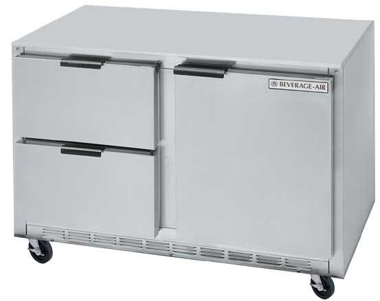 "Beverage Air UCRD48A-2 Stainless Steel Rear-Mounted 46"" x 29"" Undercounter Refrigerator with 2 Drawers"