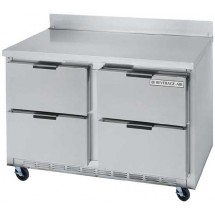 "Beverage Air UCRD48A-4 Two-Section Stainless Steel Rear-Mounted 46"" x 29"" Undercounter Refrigerator with 4 Drawers"