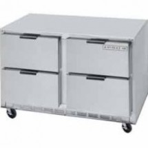 "Beverage Air UCRD60A-4 Two-Section Stainless Steel Rear-Mounted 60"" x 29"" Undercounter Refrigerator"